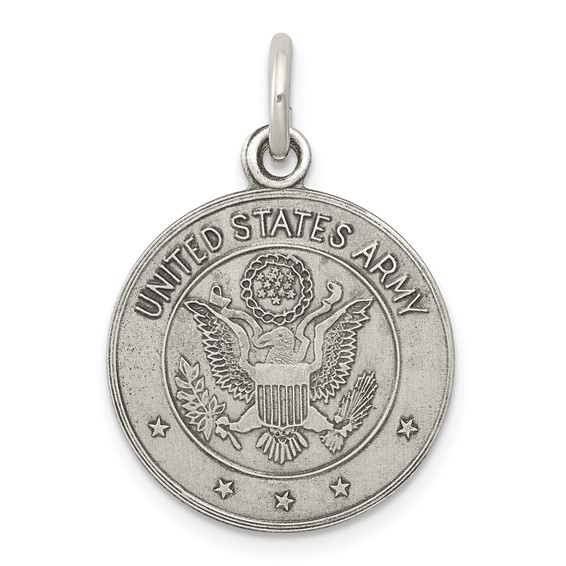 Sterling Silver 5/8in Round U.S. Army Pendant