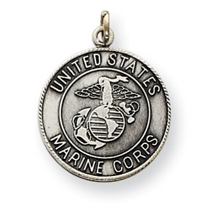 Sterling Silver USMC 5/8in Round Pendant