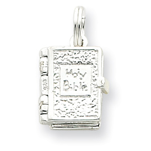 Sterling Silver 9/16in Holy Bible Charm