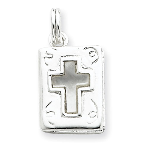 5/8in Book with Mother of Pearl Charm - Sterling Silver