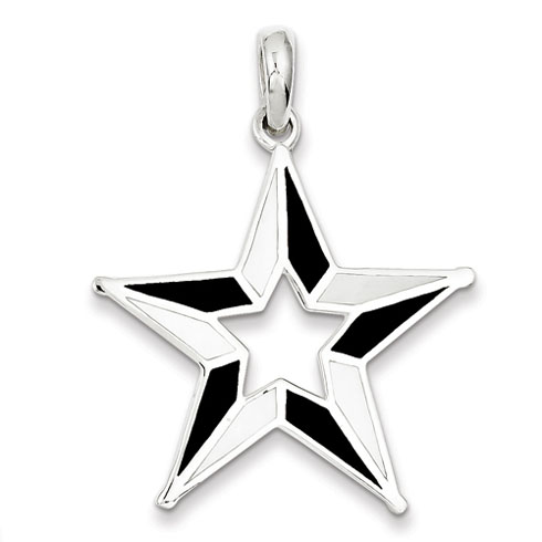 Mother of Pearl Star Pendant 1 3/8in - Sterling Silver