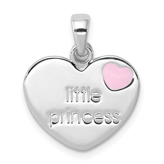 Sterling Silver 1/2in Little Princess Heart CZ Cross Charm