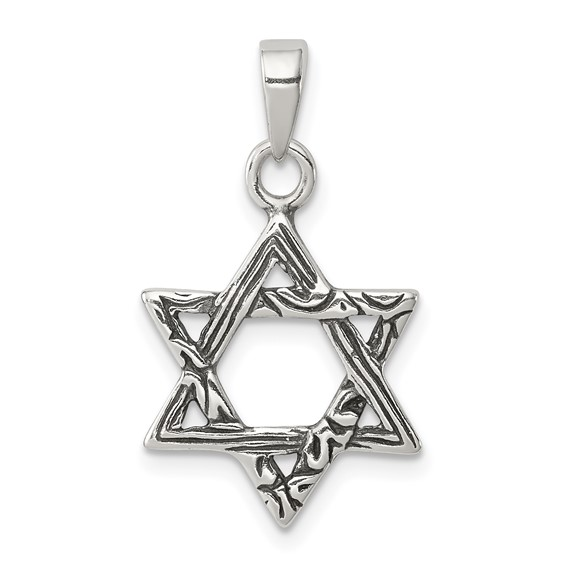 Sterling Silver Textured Star Of David Pendant 11/16in