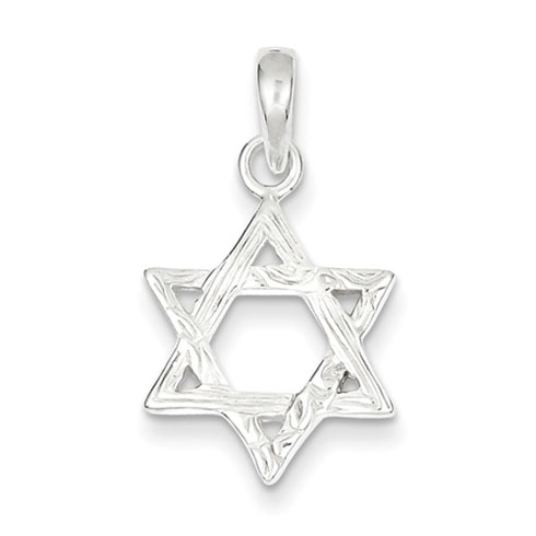 Textured Star Of David 11/16in - Sterling Silver