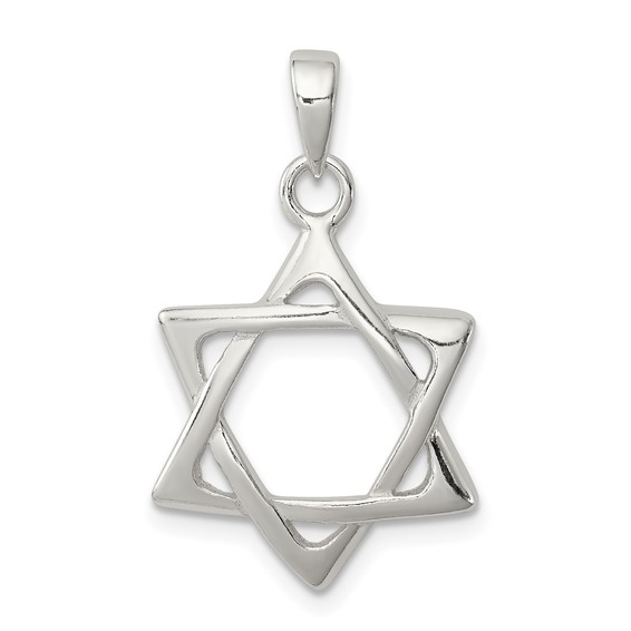 13/16in Geometric Star Of David Pendant - Sterling Silver
