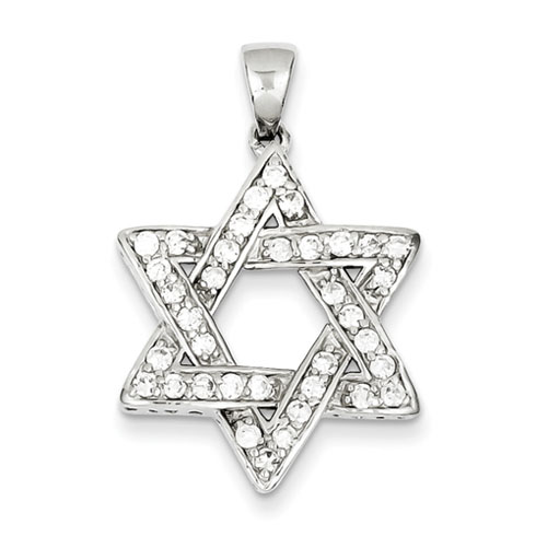 1in CZ Star of David - Sterling Silver