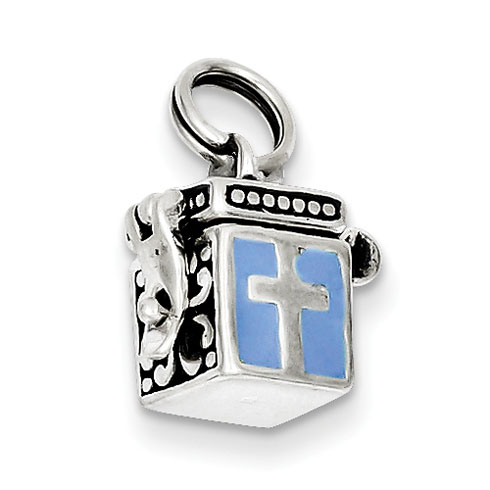 Sterling Silver Blue Enameled Prayer Box Charm