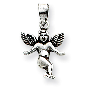 Sterling Silver 3/4in Antiqued Angel Charm with Open Back
