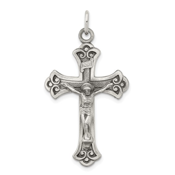 Sterling Silver 1 1/4in Antiqued Crucifix Pendant