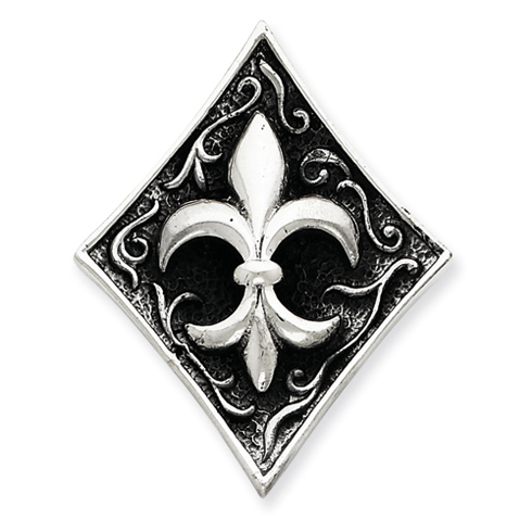 Sterling Silver 1 5/8in Antiqued Fleur de lis Pendant