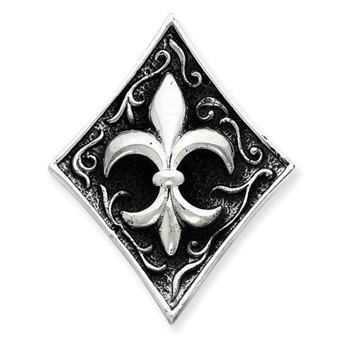 Sterling Silver 1 5/8in Antiqued Fleur de lis Pendant