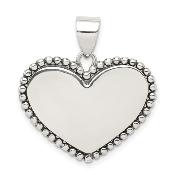 Sterling Silver 3/4in Heart Pendant with Beaded Edges