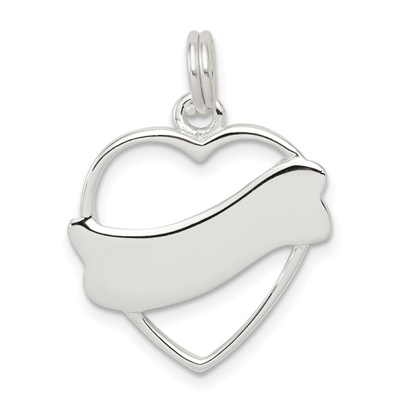 Sterling Silver Heart Charm with Ribbon 3/4in