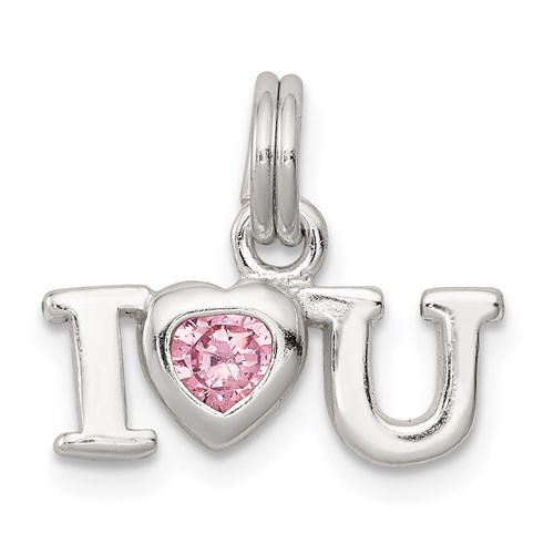 Sterling Silver I Love You Charm with Pink CZ