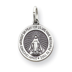 Sterling Silver Round Miraculous Medal 5/8in