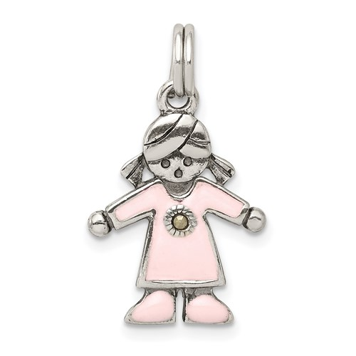 Sterling Silver Girl Charm with Pink Enamel