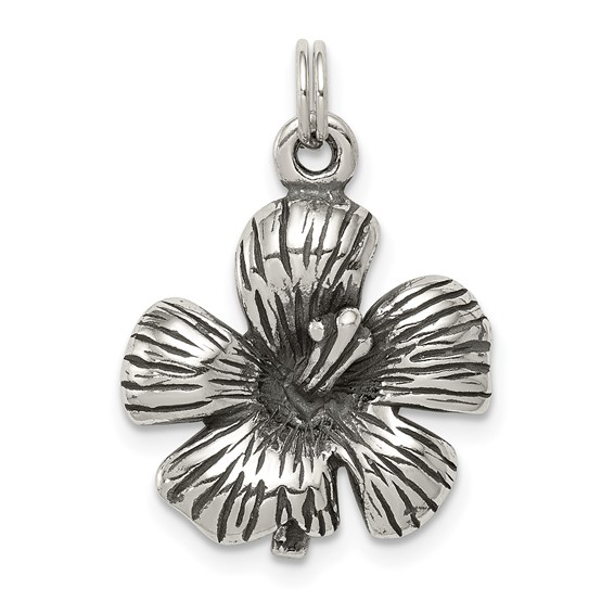 Sterling Silver Antique Hibiscus Flower Charm
