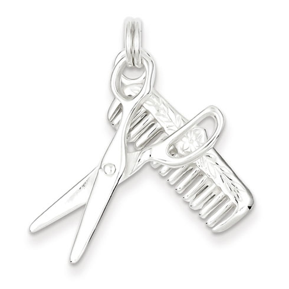 Sterling Silver Comb & Scissor Charm