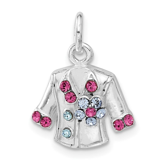 Sterling Silver Multi-colored Crystal Jacket Charm