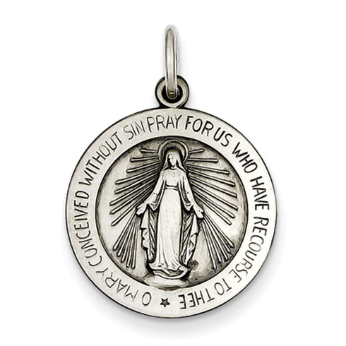 Sterling Silver 3/4in Round Miraculous Medal