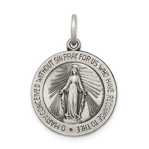 Sterling Silver Round Miraculous Medal 3/4in