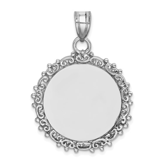 Sterling Silver 1in Fancy Round Engravable Pendant