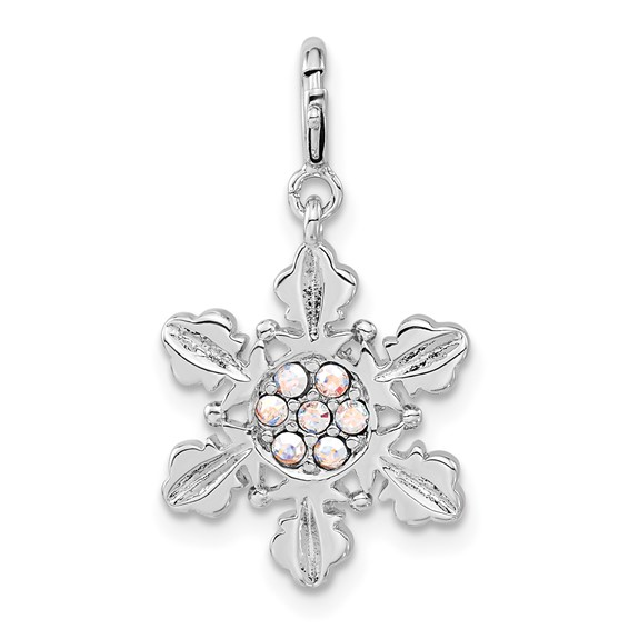 Sterling Silver Snowflake with Aurore Boreale Crystal Charm