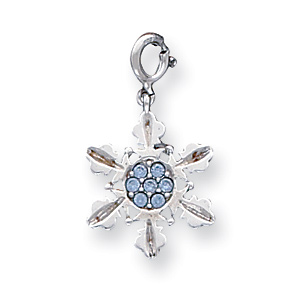 Sterling Silver Blue Crystal Snowflake Charm