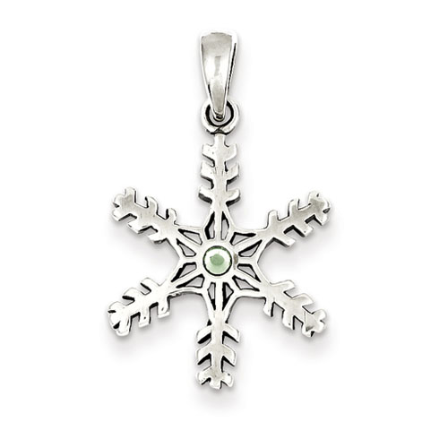 Sterling Silver Antique Snowflake with Light Green Stone Pendant