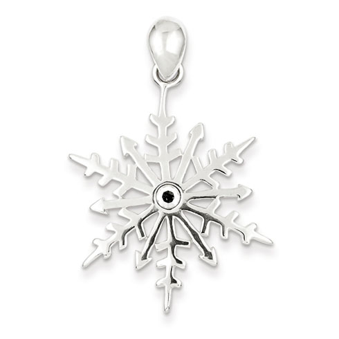 Sterling Silver Snowflake with Crystal Pendant