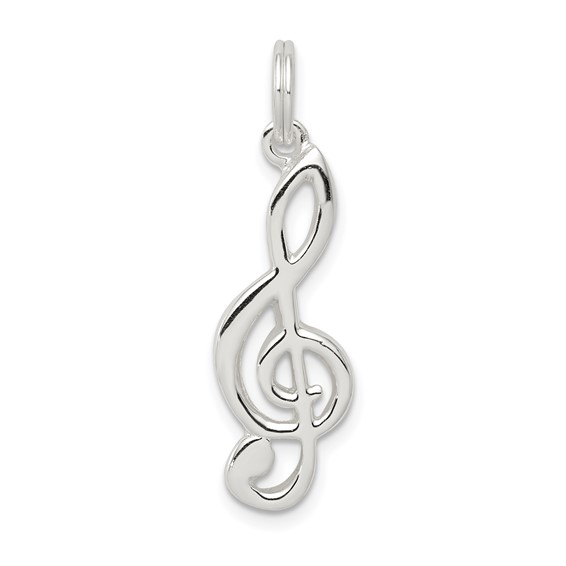 Sterling Silver Music Note Treble Clef Pendant 7/8in