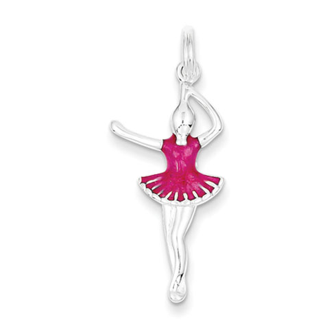 Sterling Silver 1in Pink Enameled Ballerina Pendant