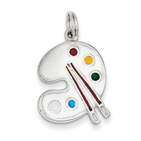 Sterling Silver Enameled Painting Palette Charm