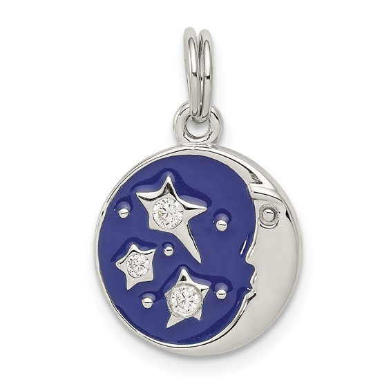 Sterling Silver Enameled Blue Moon with CZ Charm