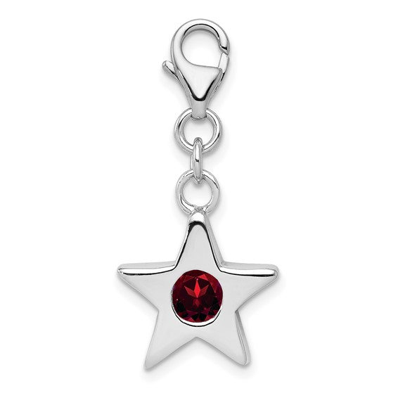 Sterling Silver January CZ Birthstone Star Charm