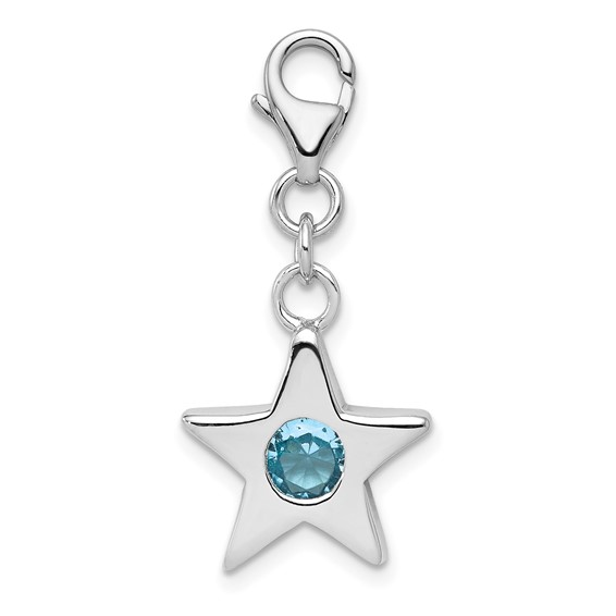 Sterling Silver March CZ Birthstone Star Charm