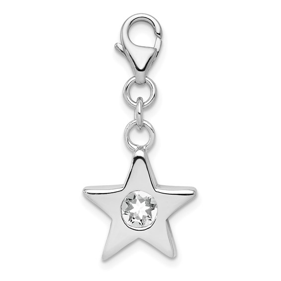 Sterling Silver April CZ Birthstone Star Charm
