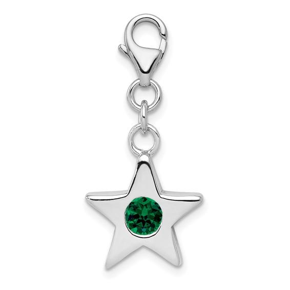 Sterling Silver May  CZ Birthstone Star Charm