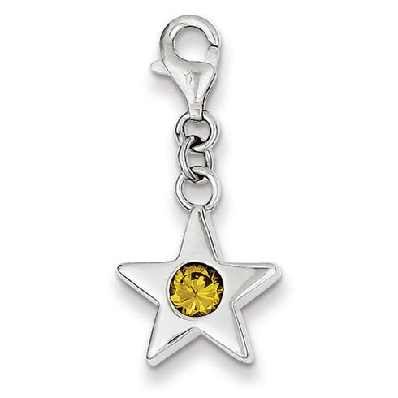 Sterling Silver November CZ Birthstone Star Charm