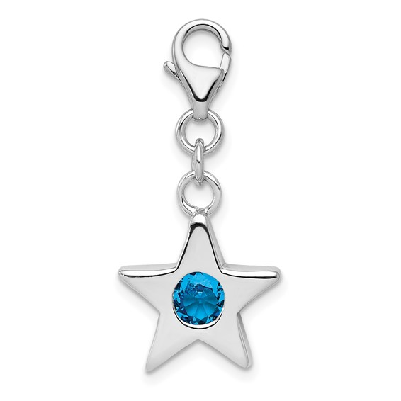 Sterling Silver December CZ Birthstone Star Charm