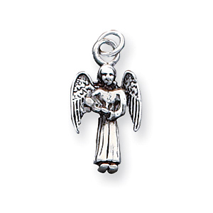 Antiqued Sterling Silver 3/4in Angel Charm