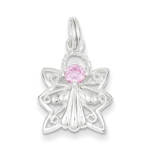 Pink CZ Angel Charm 11/16in - Sterling Silver
