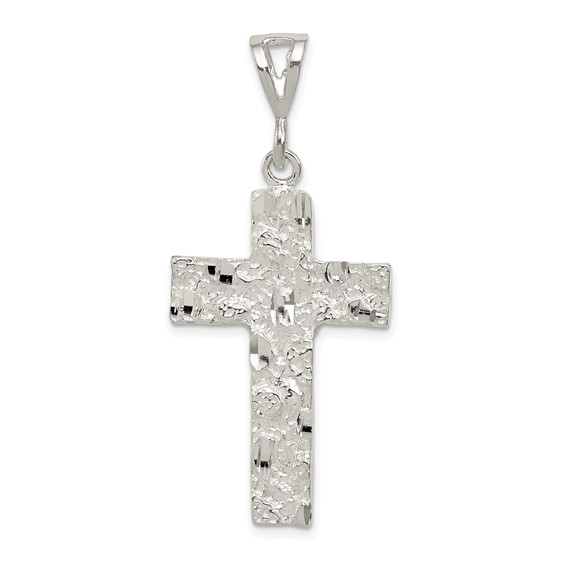 Sterling Silver Diamond-cut Nugget Cross Pendant 1 1/4in
