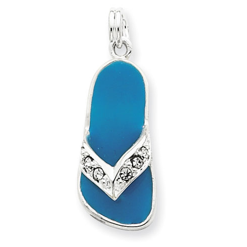 Sterling Silver Aqua Enameled Crystal Flip Flop Charm