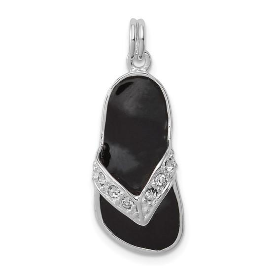 Sterling Silver Black Enameled Crystal Flip Flop Charm