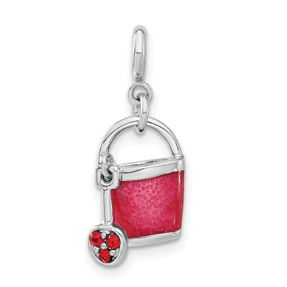 Sterling Silver Pink Enameled and Crystal Bucket Charm