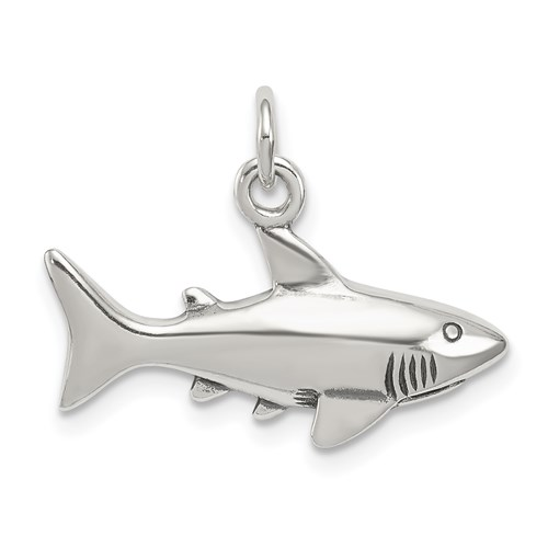 Sterling Silver 3/8in Shark Charm with Antique Finish
