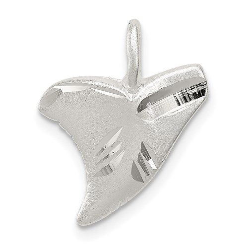 Sterling Silver 1/2in Diamond Cut Shark Tooth Charm