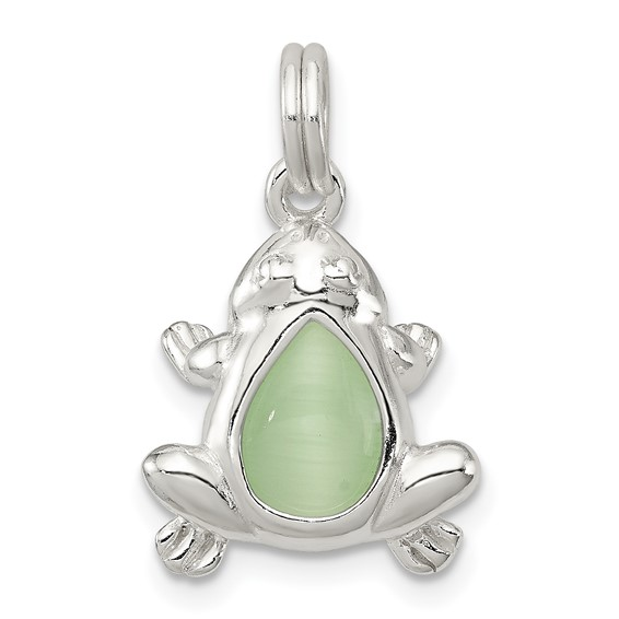 Sterling Silver Green Cats Eye Frog Charm