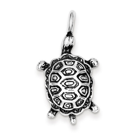 Sterling Silver 1in Antiqued Turtle Pendant